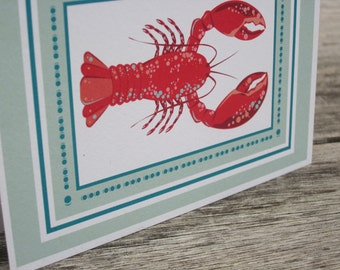 Lobster notecards - Seafoam green with border - folded blank note cards - 8 pack