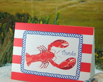 Red/White Nautical Stripe with Lobster - folded, blank, thank you notes - 8 pack