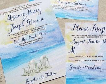 Summer Beach Wedding Invitation. Beach Watercolor wedding,Beach Destination Wedding, beach chairs wedding,watercolor, beach chairs,sunset