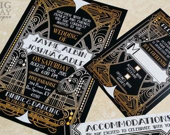 Elegant Art Deco Wedding Invitations. Great gatsby wedding invitation,Gatsby,ballroom,gala wedding,art nouveau,black gatsby, black and gold