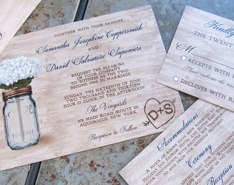 Rustic Mason Jar Wedding Invitations,Mason Jar and Flowers,Mason Jar and wood,white flowers,barnwood,mason,etched initials,carved initials
