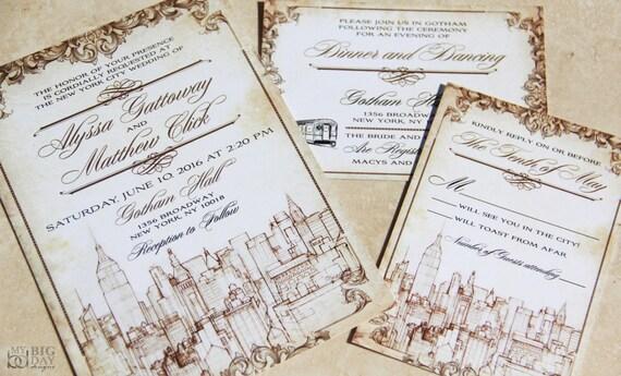 New York Themed Wedding Invitation Set Vintage New York City Etsy