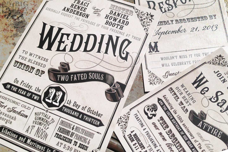 Civil Union Wedding Invitation Setboardwalk Carnival Wedding Etsy