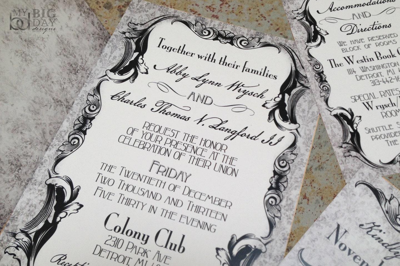 Gothic Victorian Wedding Invitation Set Antique Scrolls Invitations Elegant Goth: Victorian Elegant Wedding Invitations At Reisefeber.org