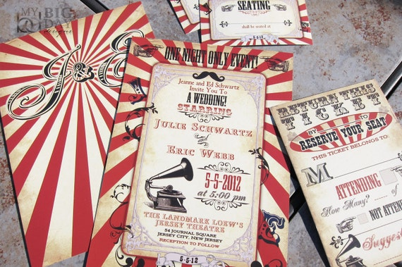 Vintage Carnival Themed Wedding Invitationcircus Themed Etsy