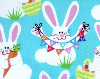 Easter Bunnies fabric, Bunnies and eggs easter fabric for kids,  100% cotton for Quilting and general sewing projects.