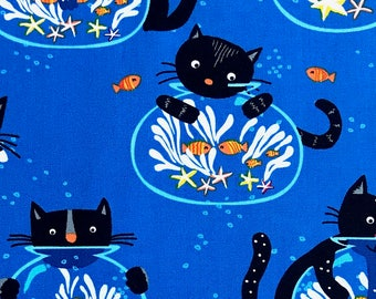 Cats Fabric, children fabric, Kitties fabric 100% cotton fabric for Quilting, arts, crafts and general sewing projects.