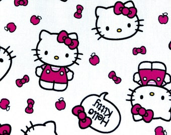 82587511f Hello Kitty fabric, Pink and white Hello Kitty fabric, girl fabric 100%  cotton for Quilting and all sewing projects.