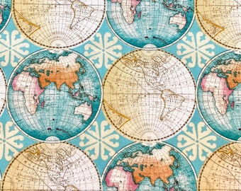 World Map Print Fabric.World Map Fabric Etsy