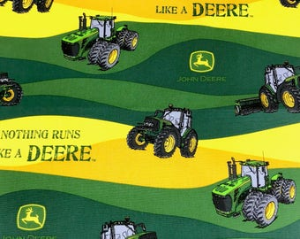 John Deere fabric, country farm tractor with green and yellow waves fabric, 100% cotton fabric for Quilting and general sewing projects.