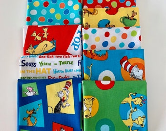 f58aadbd Cat in the Hat Bundle of 9 Fat Quarters fabric, Dr Seuss fat Quarters fabric  100% cotton for Quilting and general sewing projects.