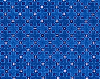 Quatrefoil fabric, blue mosaic fabric, trellis fabric, blue geometric fabric 100% cotton for Quilting and all sewing projects