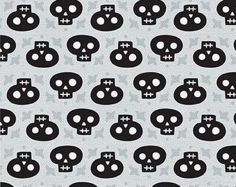 Skulls fabric, Fun black Skulls fabric, Halloween fabric, Kids fabric 100% cotton for Quilting and sewing projects