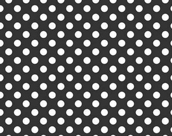 100/% Cotton Fabric Makower Monochrome Hand Drawn Style Polka Dot Spots
