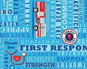 First responders fabric, Doctors, nurses and medical assistants fabric 100% cotton for all sewing projects