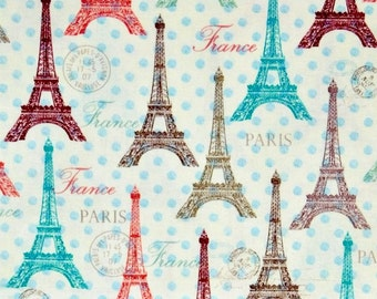 Eiffel Towers fabric, Paris fabric, Travel fabric, Europe icons fabric 100% cotton fabric for Quilting, arts, crafs and all sewing projects.