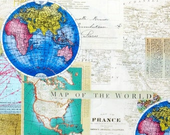 The 100 Map Of Earth.World Map Fabric Etsy