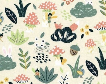 Forest critters fabric, Woodland baby animals fabric, kids fabric 100% cotton for all sewing projects