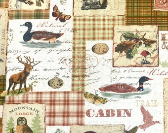 NORTH MEMORIES CABIN FABRIC  LOONS  DEER  WILDLIFE PINES 100/% COTTON BY THE YARD