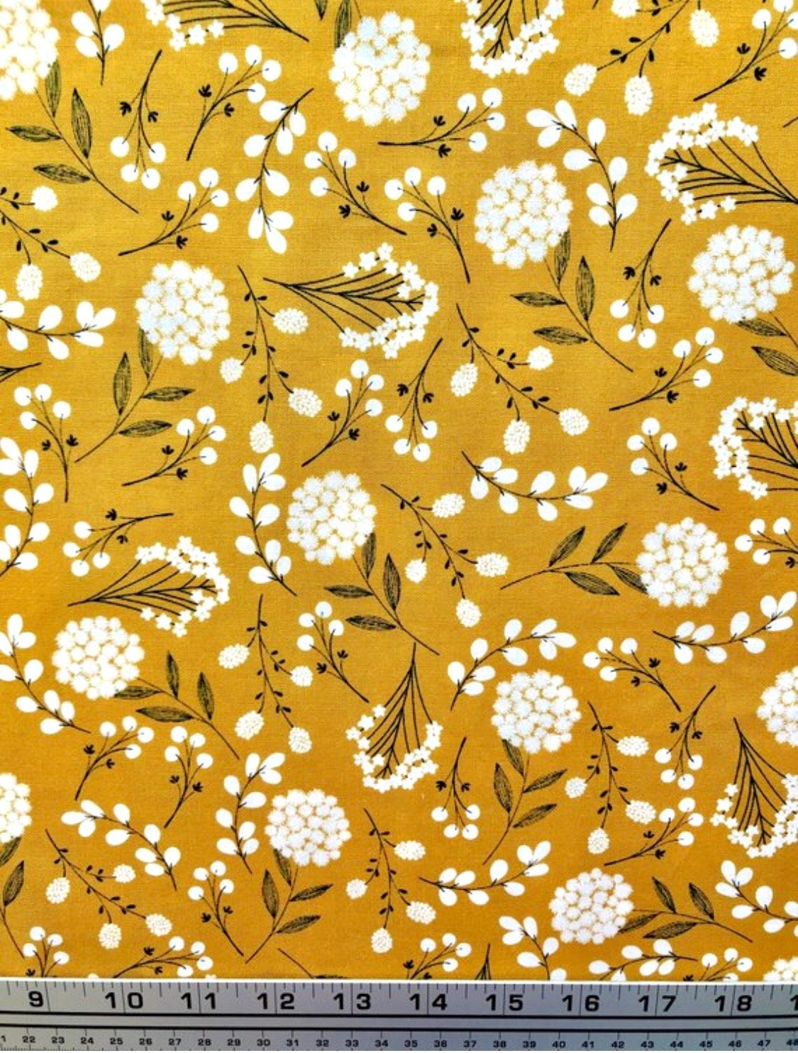 Modern Yellow Flowers Fabric Mustard Floral Fabric Wild Etsy