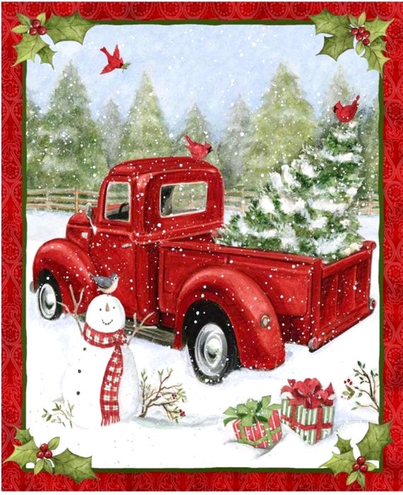 Christmas Red Truck fabric panel, Red truck and snowman home decoration,  100% cotton fabric for Quilting and general sewing projects.
