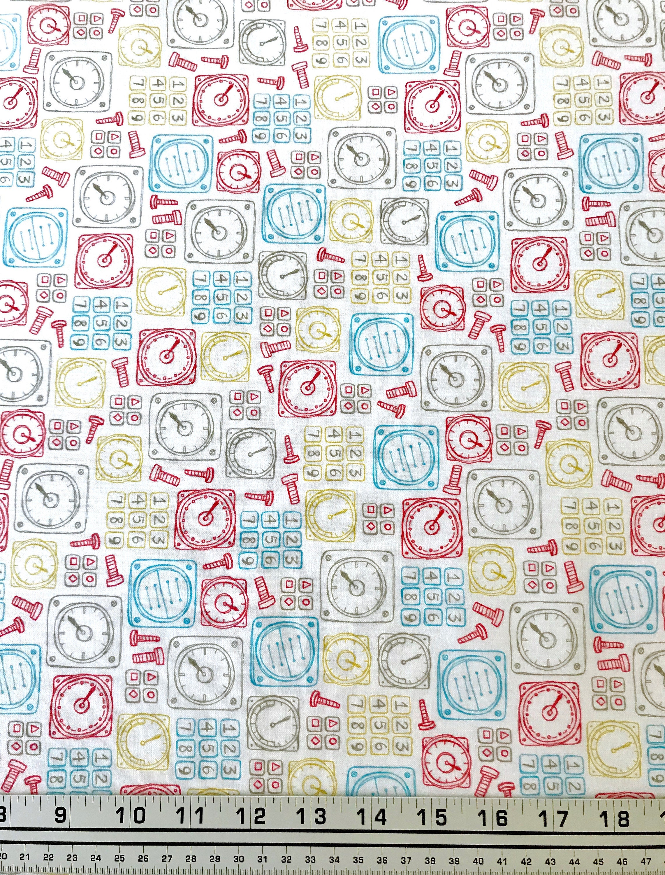 END OF BOLT 1 yard long of Robot Parts fabric Boys fabric