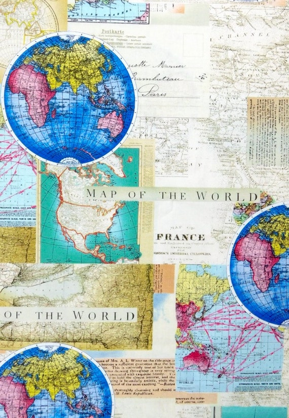 General World Map.Map Fabric World Map Travel Fabric 100 Cotton For Quilting Etsy