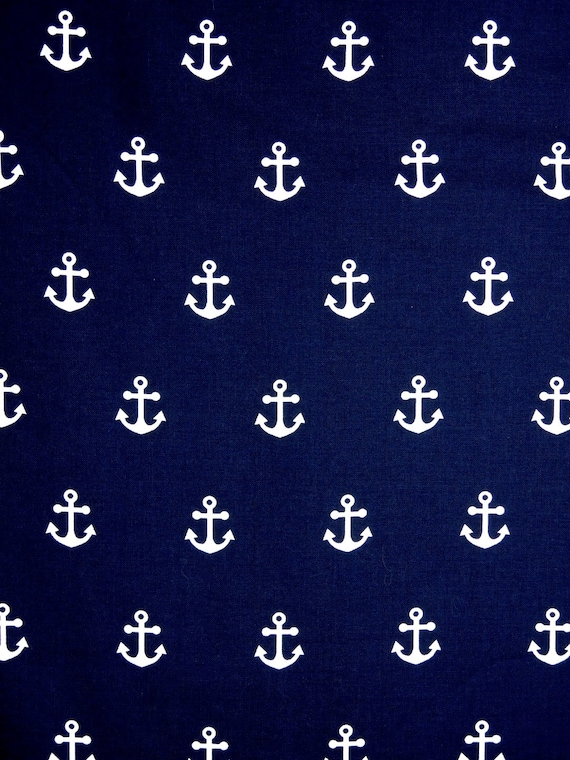 Nautical Anchors Fabric White Anchors Navy Blue Background