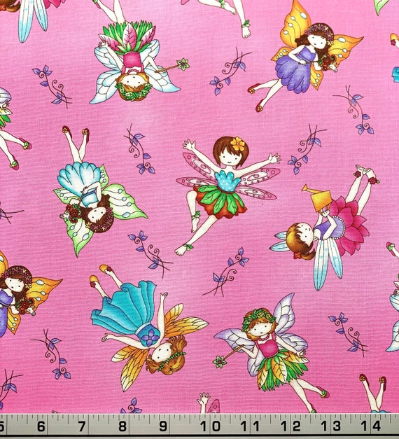 Crafty Fairies Things Quilting Treasures 100/% Cotton Fabric By The Yard