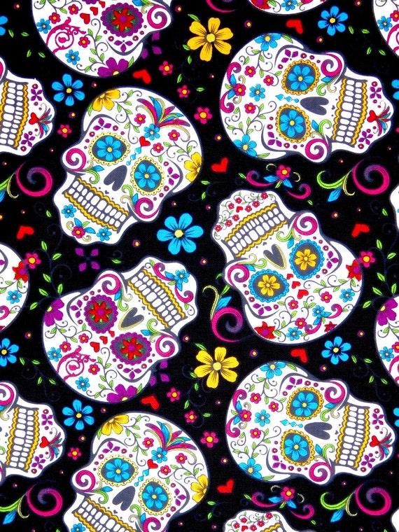 Sugar Skulls Fabric Calaveras Day Of The Dead Latin
