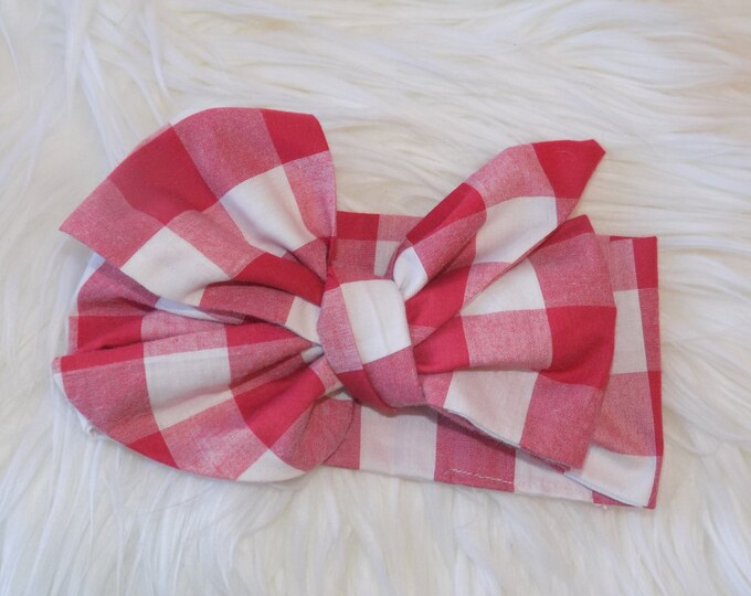 Red and white gingham headwrap
