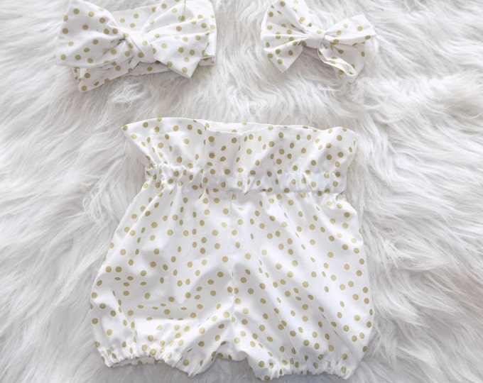 Big gold polka dot shorts, highwaisted shorts, gold and white outfit, toddler outfit , gold and white