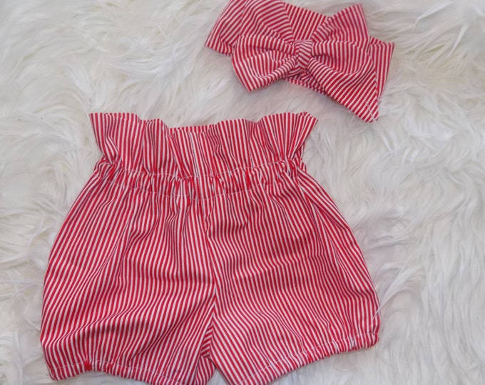 Red striped shorts toddler shorts highwaisted shorts headwrap red