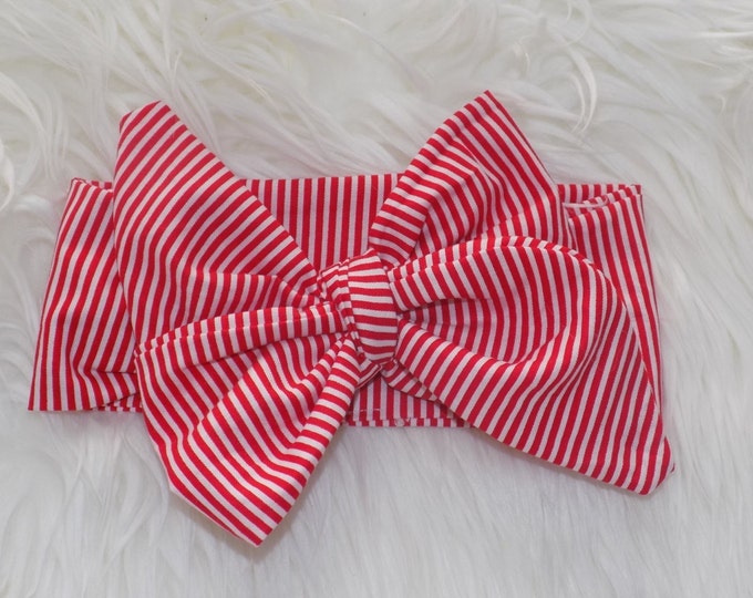 Red and white striped headwrap