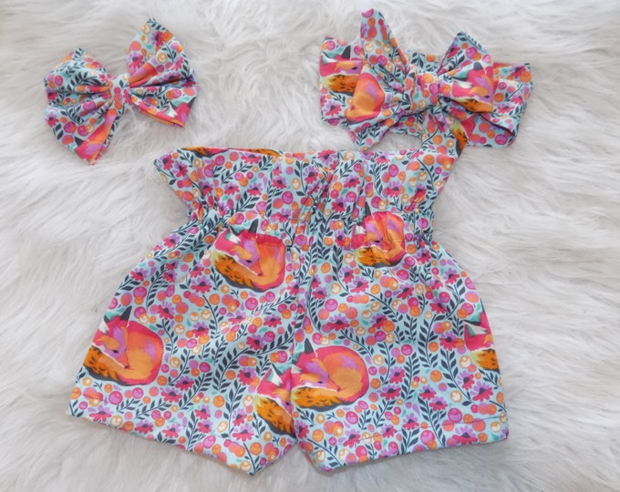 Fox toddler shorts , fox outfit, fox birthday , highwaisted shorts , outfit with headband
