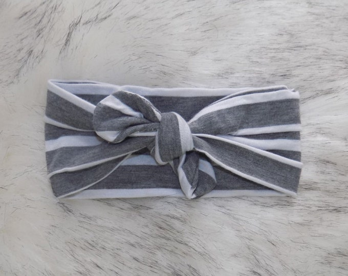 Grey and white stripped knot headwrap