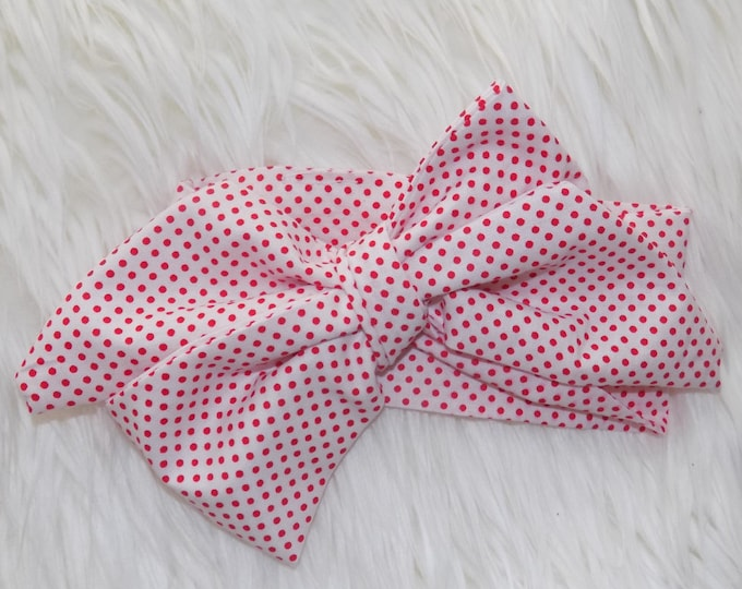 Red and white polka dot headwrap