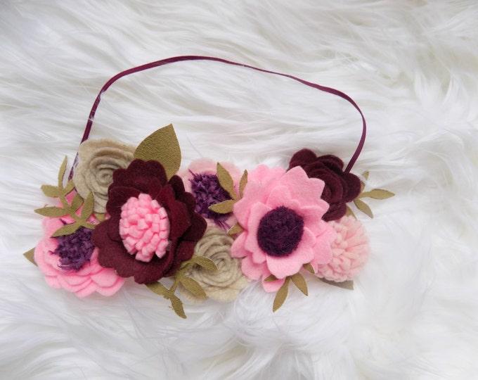 Jemma Boho floral crown, felt floral crown, mom to be headband, flower headband. pink flower headband, flower garland ,