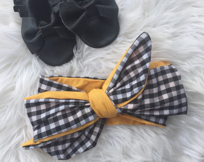 Marigold and gingham contrast headwrap
