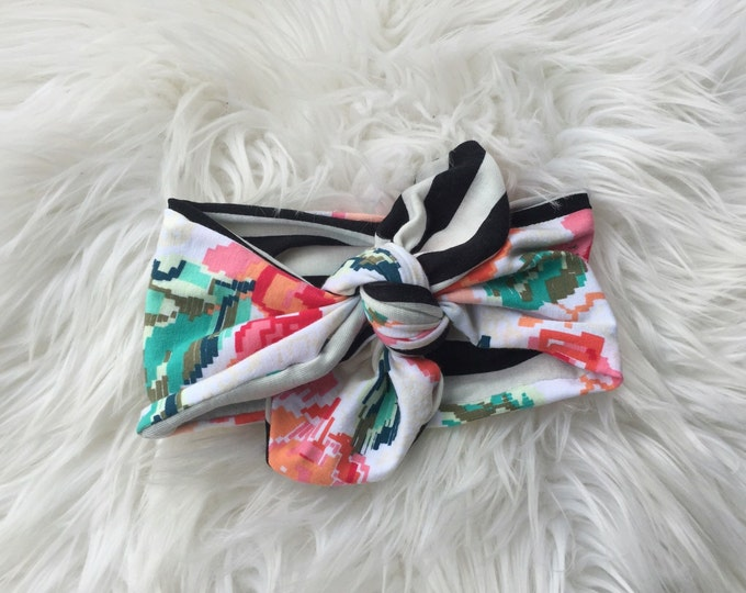 Floral and stripes knot headwrap