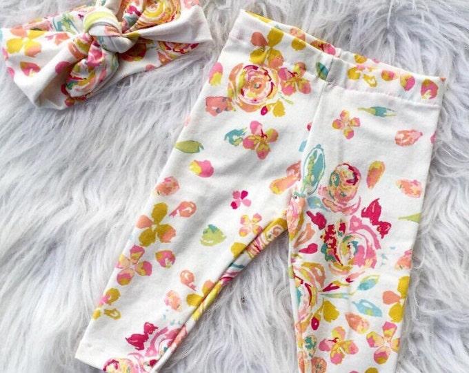 Boho mustard floral pants and headband