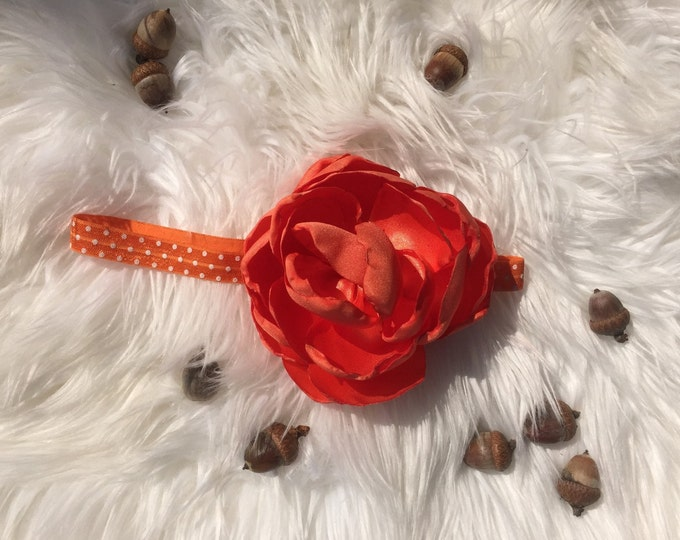 Huge flower headband orange flower baby headband
