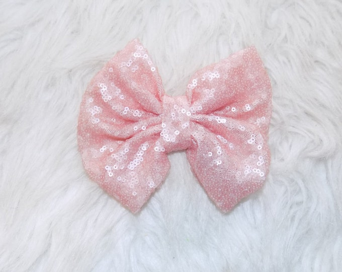 Pink Sparkle bow clip, Pink sparkle bow headband , first birthday , coming home headband