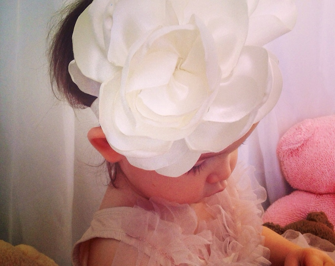 Huge white flower headband newborn headband baby girl first birthday headband