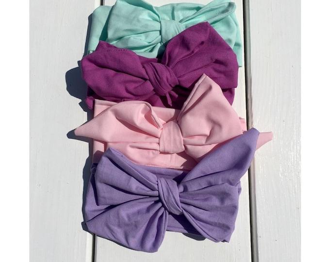 Head wrap sets, purple headwrap, pink headwrap, aqua headwrap , light purple headwrap, baby headband , kid headwrap, headwrap