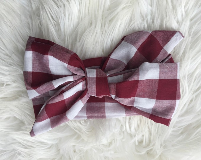 spencer burgundy plaid headwrap