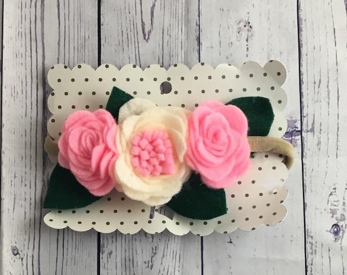 Schocking pink and cream Felt rose flower headband / felt flower crown / nylon headband / baby flower headband / toddler flower headband