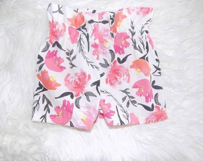 floral highwaisted shorts, highwaist shorts, shorts , girl shorts, baby shorts