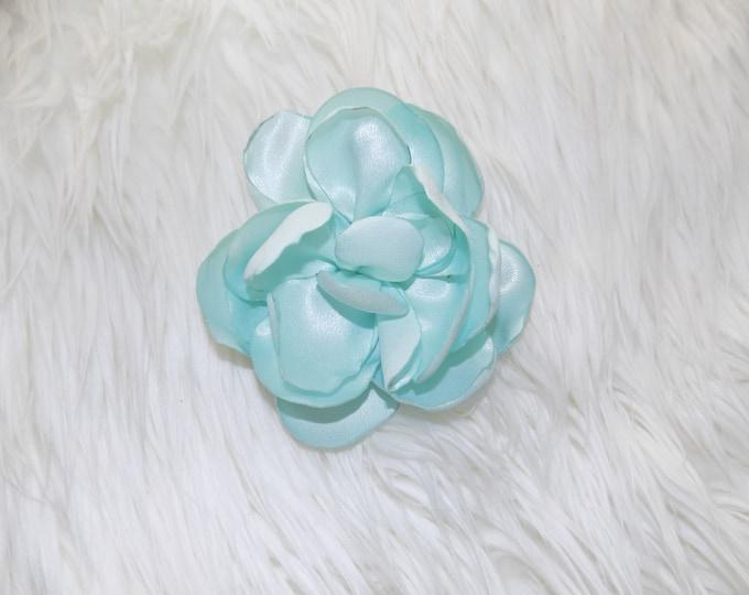 Huge flower headband  huge flower clip light blue flower
