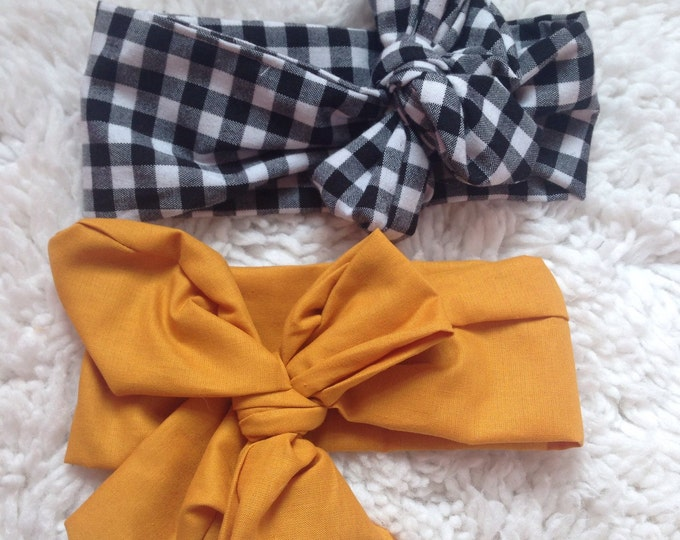 Black gingham  and mustard headwrap duo